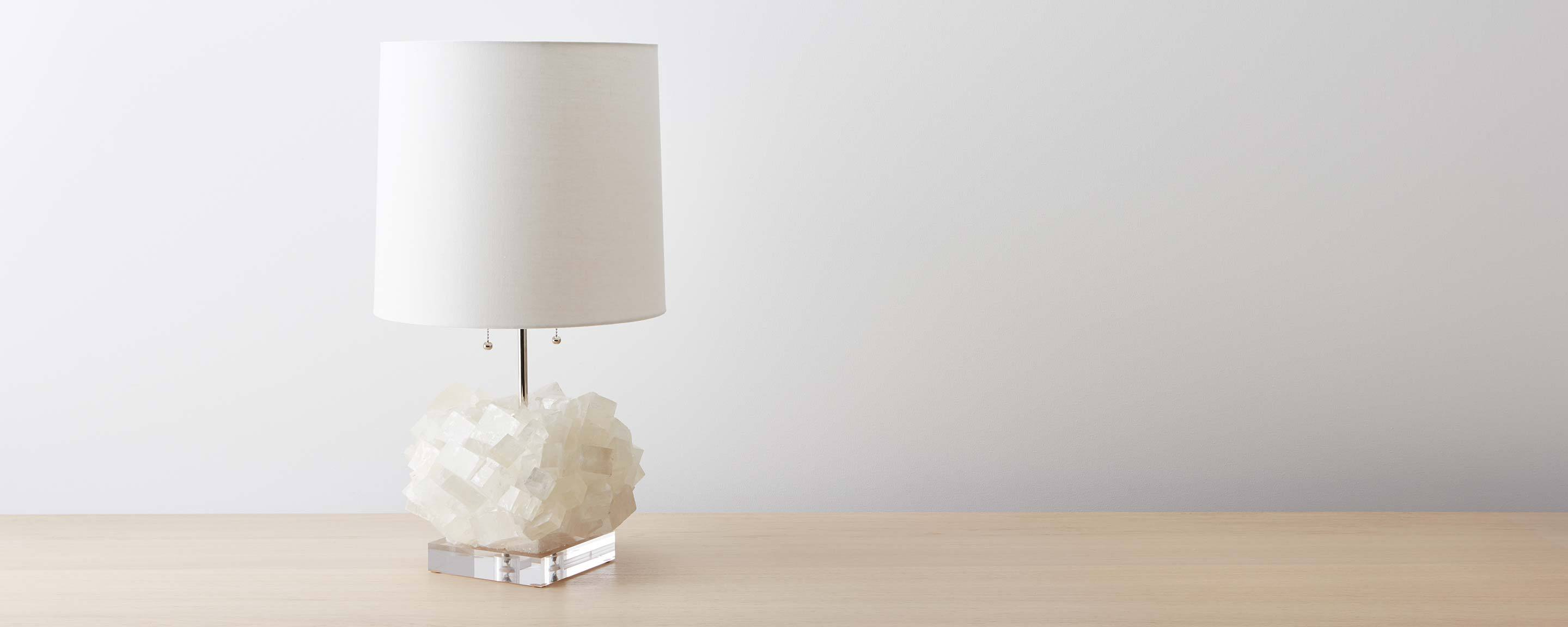 calcite table lamp with lucite base