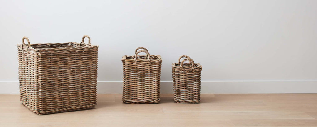 gray washed square rattan baskets