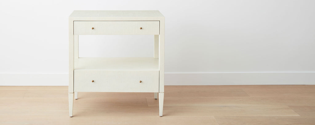 faux raffia wide nightstand, white