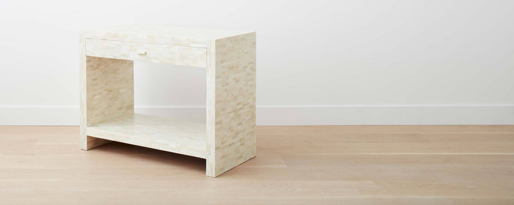 white bone wide end table with drawer