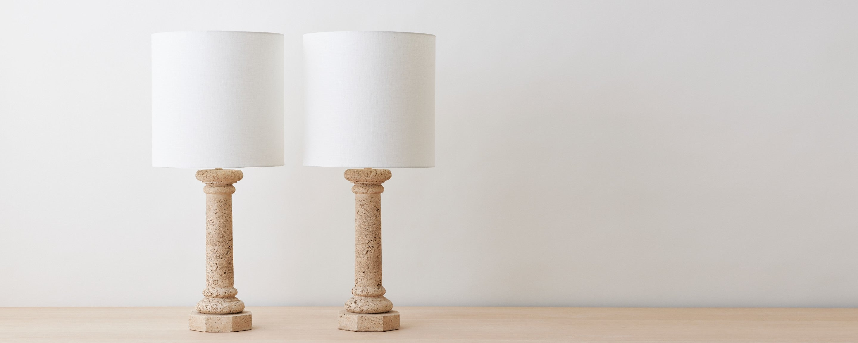 vintage pair of stone table lamps