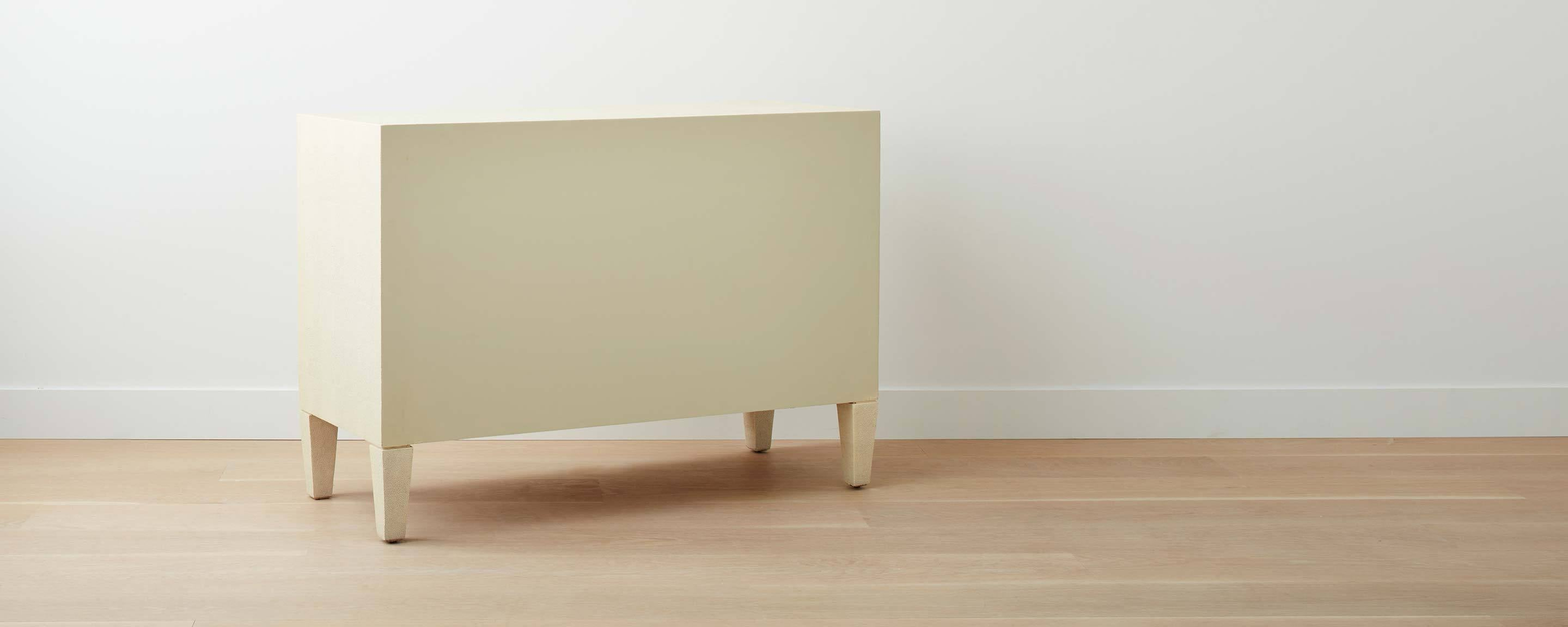faux shagreen dresser, off-white