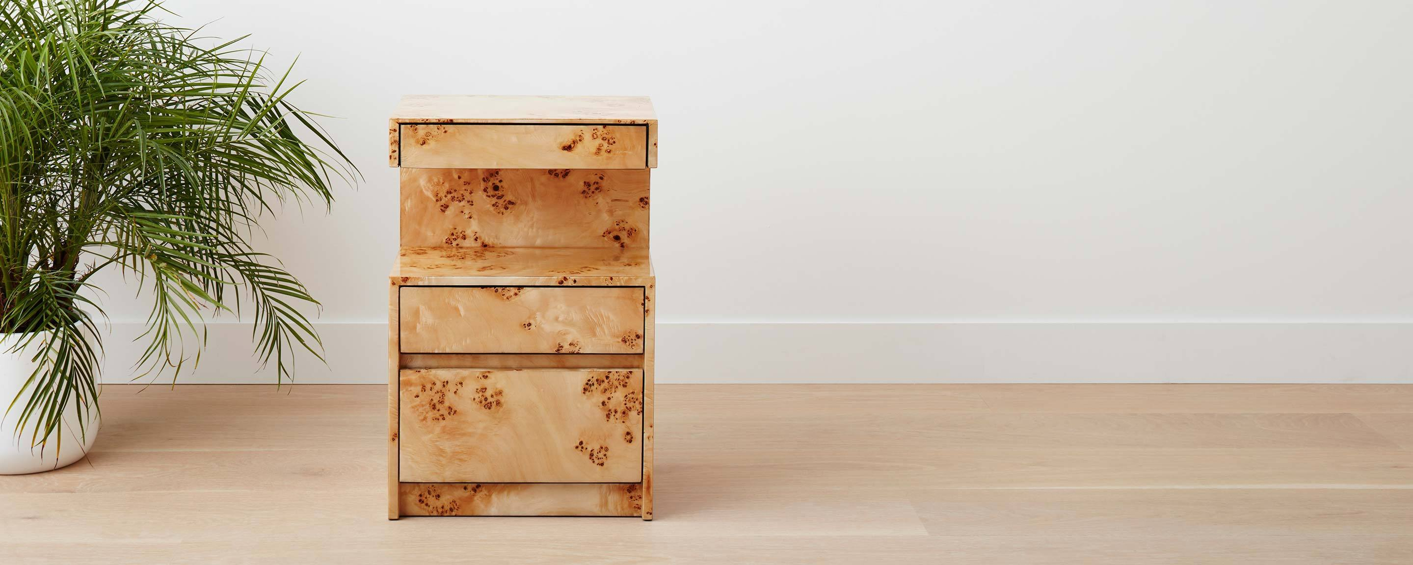 triple drawer burl lacquered nightstand