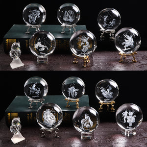 3D Zodiac Signs Crystal Globes