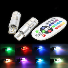 Multicolored T10 LED RGB Bulbs with Remote Control (2-10 Bulbs Set)