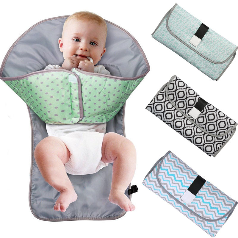 Portable Baby Diaper Changing Pad - Small Foldable Clutch Bag & Handle