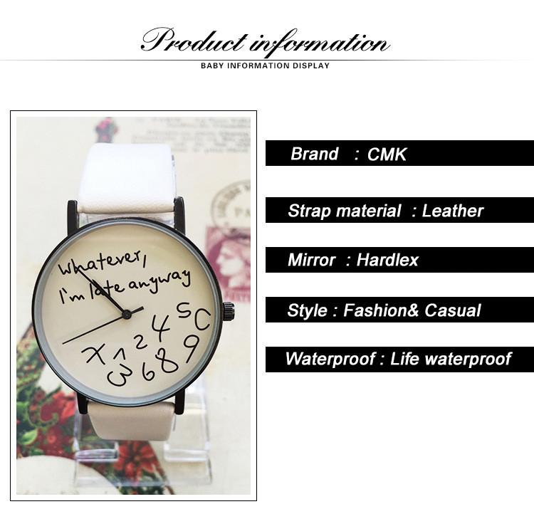 Whatever I am late anyway Women Watches - Genuine Leather Watch Bands