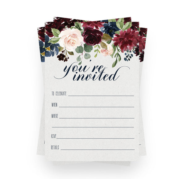 Indigo Floral Invitations (15 Guests) Rustic Bridal Shower - Engagement – Girls Baby Shower - Birthday - Baptism - Greenery Party Supplies - Fill in Blank Style Invite Cards and Envelope Set DIY
