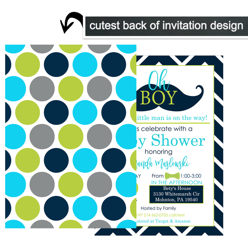 Mustache Baby Shower Invitations with Envelopes Set of 15 Fill in Cards
