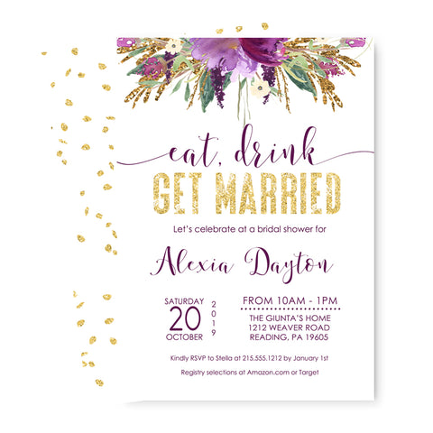 Purple Floral Bridal Shower Invitations