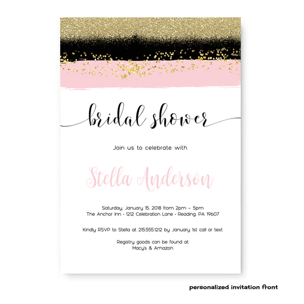 Gorgeous Blush Bridal Shower Invitations