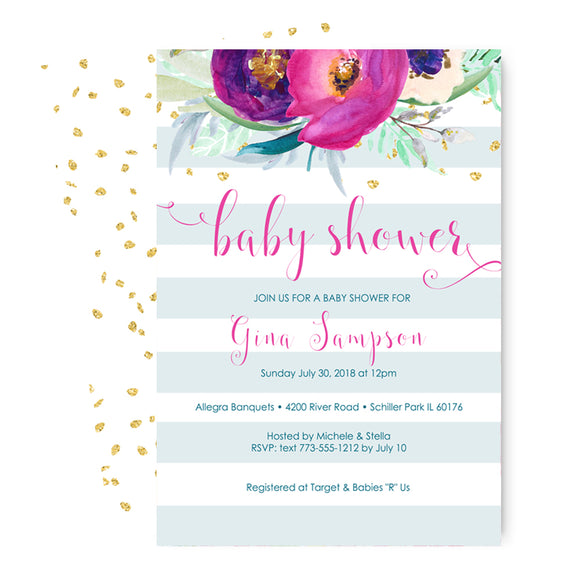 Shabby Welcome Baby Shower Invitations
