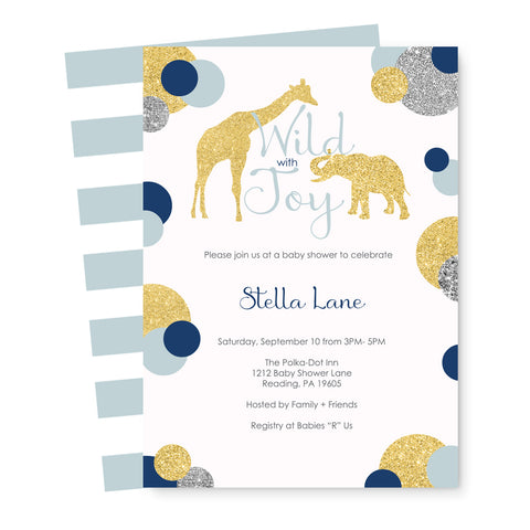 Silvery Jungle Baby Shower Invitations