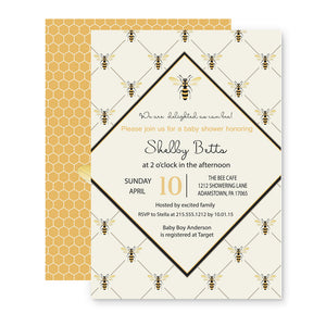 Joyful Bee Baby Shower Invitations