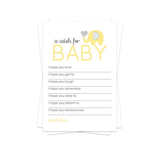 Yellow Elephant Wish for Baby Shower Game (20 Pack) Advice and Best Wishes – Wishing Well Cards – Birthday Time Capsule – Sprinkle Activity – Neutral Little Peanut Party Supplies