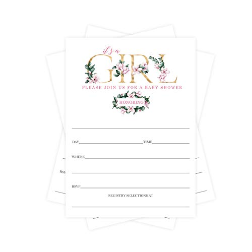 Sweet Magnolia Baby Shower Invitations (25 Cards) Girls Pink Floral and Greenery Style - Blank Fill In Invites and Envelope Set