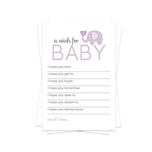 Purple Elephant Wish for Baby Shower Game (20 Pack) Advice and Best Wishes – Wishing Well Cards – Birthday Time Capsule – Cute Sprinkle Activity – Girls Little Peanut Party Supplies