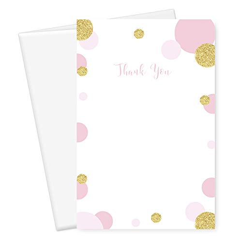 Mod Dot Blush and Gold Thank You Cards and Envelopes (25 Pack) Baby Shower Wedding Celebration Birthday Parties Everyday Use