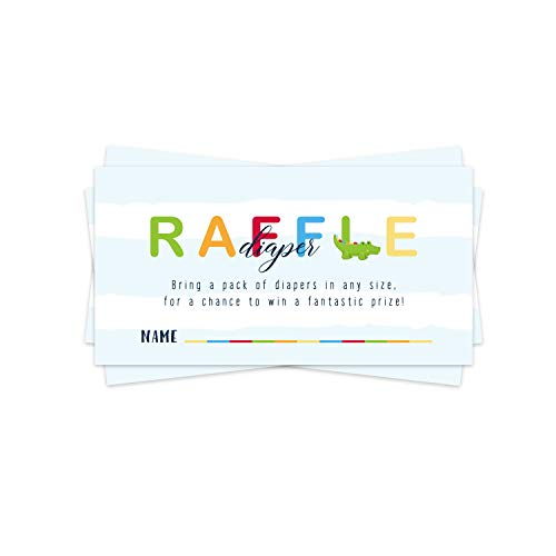 Little Gator Diaper Diaper Raffle Ticket (50 Cards) Baby Shower Games – Invitation Inserts – Drawings for Sprinkle Activity – Colorful Zoo Animal Theme