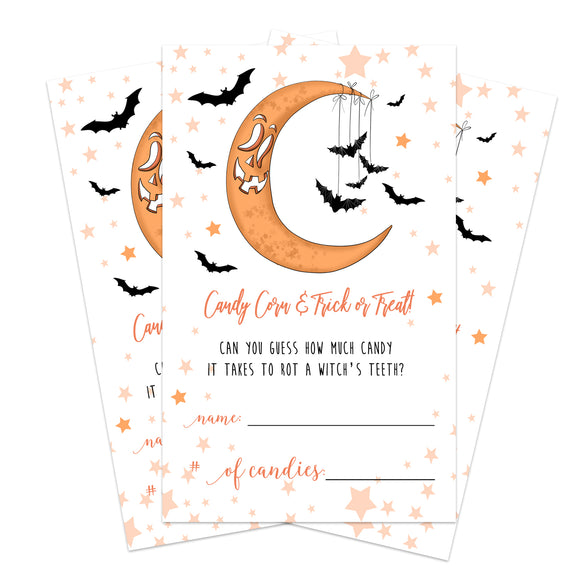 Halloween Party Candy Guessing Game (25 Cards) Pumpkin Moon - Fun Activity for Kids, Adults, Groups