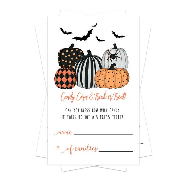 Bewitched Halloween Party Candy Guessing Game (25 Cards) Fun Activity for Kids, Adults, Groups - Spooky Trees, Pumpkins