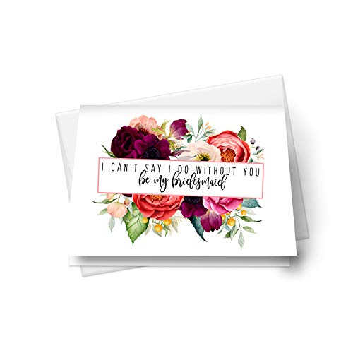 Wildflower Be My Bridesmaid Cards (12 Pack) Includes Maid of Honor, Matron of Honor - Ways to Ask Bridal Party - Wedding Attendants Proposal Set - Country Floral