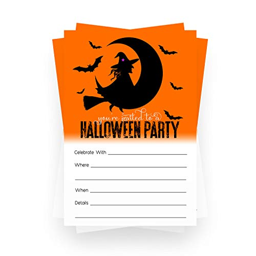 Wicked Halloween Invitations (15 Cards) Fun Witch Party Supplies – Adults, Kids, Groups Spooky Events - Orange and Black – Blank Fill in Invite Card and Envelopes Pack