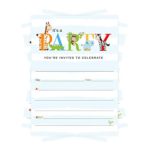 Cute Jungle Party Invitations (25 Pack) Boys Birthday – Royal Safari Baby Shower – Colorful Zoo Animal Supplies – Fill in Blank Style Invite and Envelope Set DIY