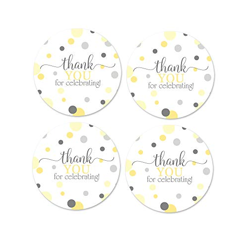 Yellow and Gray Thank You Stickers (60 Pack) Baby Shower Favor - Neutral Party Supplies - Boy or Girl - Mama to Bee - Round Labels
