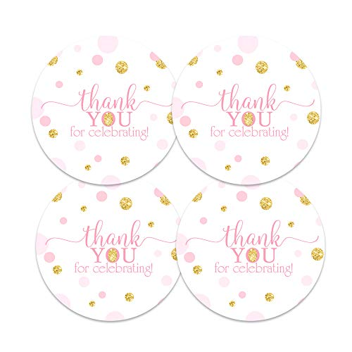 Pink and Gold Stickers (60 Pack) Girls Baby Shower Favors - Princess Party Supplies - Twinkle Star - Round Labels for Thanking Guests