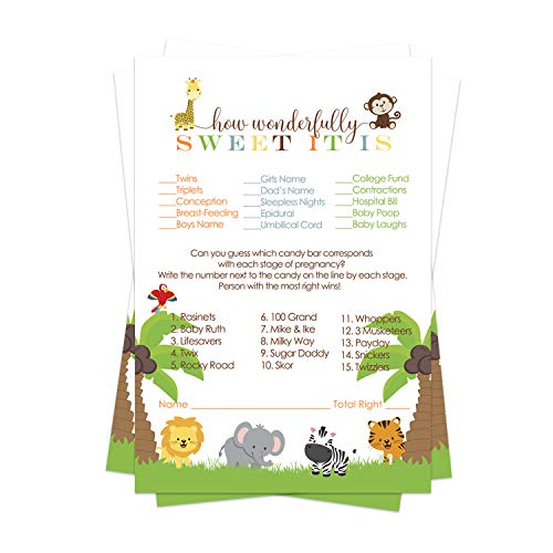 Paper Clever Party Cute Jungle Baby Shower Candy Game Pack (25 Cards) - Guess The Stages of Pregnancy and Parenthood – Funny How Sweet Sprinkle Activity – Wild Safari Zoo Animal - Neutral Boy or Girl