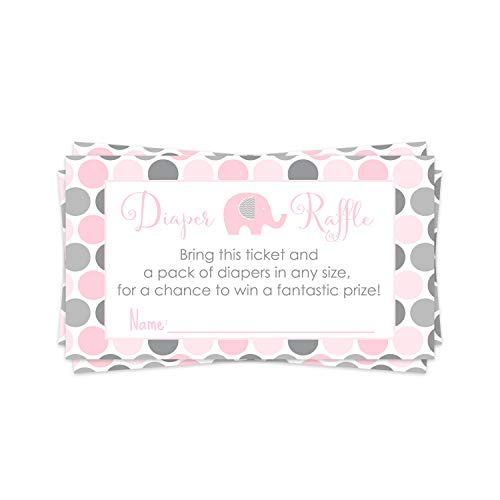 Pink Elephant Diaper Raffle Ticket (25 Cards) Baby Shower Games – Invitation Inserts – Drawings for Sprinkle Activity – Girls Little Peanut Animal Theme