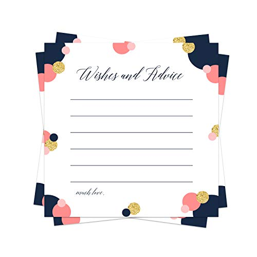 Modern Advice Cards (25 Pack) Bridal Shower Games - Baby Shower Wishes - Gender Reveal Party – Graduation - Retirement - Birthday Time Capsule – Navy, Coral and Gold