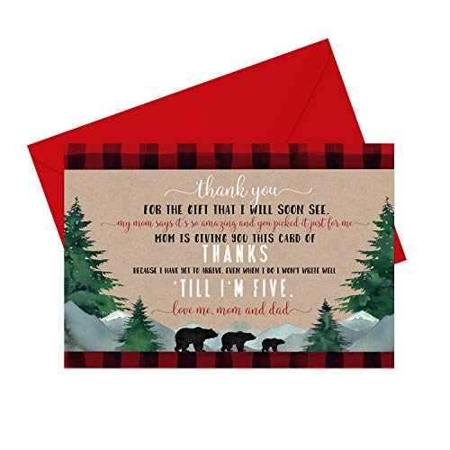 Lumberjack Baby Thank You Cards (15 Pack) Boys Shower - Rustic Little Bear - Red and Black Plaid - Babies Stationery Set with Red Envelopes
