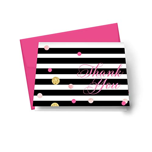 Black Stripe Thank You Cards (20 Pack) Mod Wedding – Bridal Shower – Girls Baby Shower – Birthday - Graduation – Abstract Pink and Gold Style - Everyday Folded Stationery Note Set with Envelopes