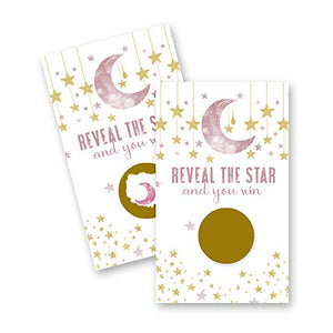 Pink Twinkle Little Star Scratch Off Cards (30 Pack) Girls Baby Shower Games - Raffles Tickets - Door Prizes - Tie Breakers - Drawing Tickets - Party Supplies