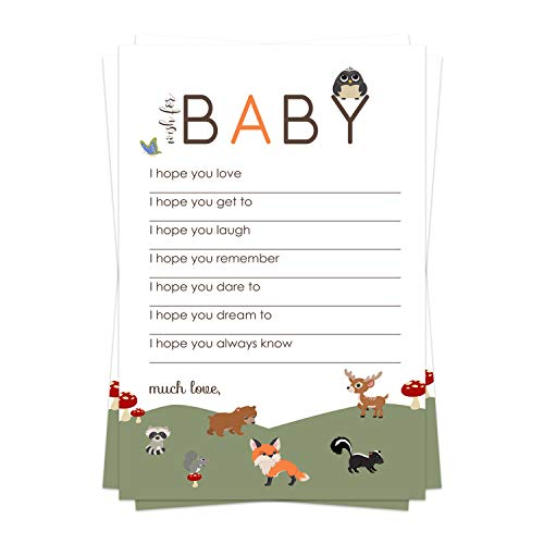 Woodland Wish for Baby Shower Game (20 Pack) Advice and Best Wishes – Wishing Well Cards – Birthday Time Capsule – Neutral Girl or Boy Sprinkle Activity – Little Forest Animal Party Supplies