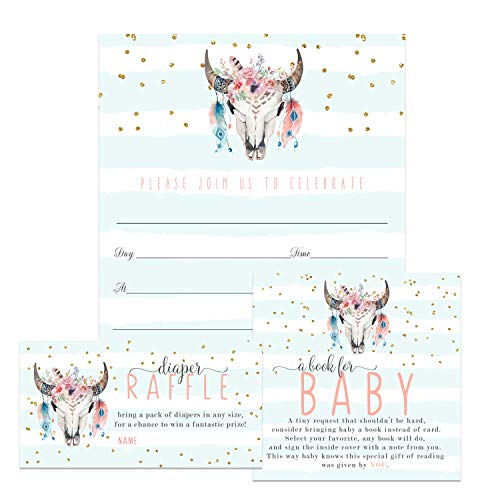 Rustic Floral Baby Shower Invitation Bundle (25 Guests) Fill-in Blank Invite - Diaper Raffle Tickets - Book Request Cards - White Envelopes - Set Includes 25 Each
