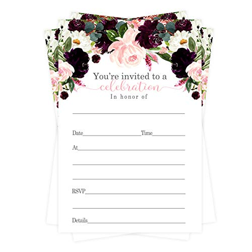 Ruby Floral Invitations and Envelopes (15 Pack) for Wedding - Engagement - Rehearsal - Baby Shower - Birthday - Bridal Shower - Pink Flower and Greenery Style Invite Set - DIY Write in Party Details