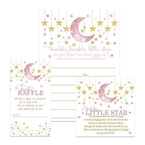 Twinkle Twinkle Little Star Baby Shower Invitation Bundle (25 Guests) Fill-in Blank Invite Girls - Diaper Raffle Tickets - Book Request Cards - White Envelopes - Set Includes 25 Each