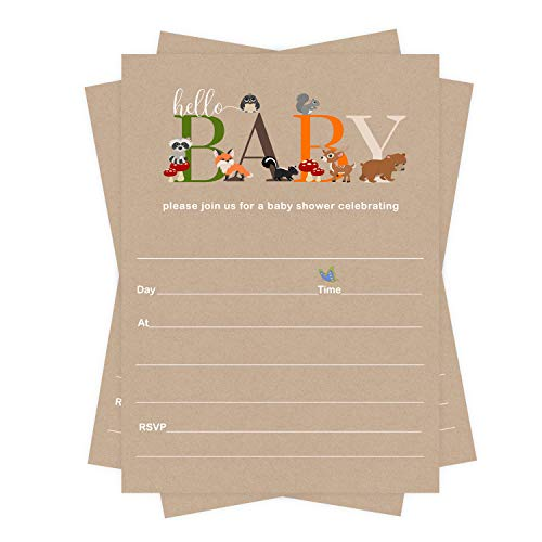 Woodland Baby Shower Invitations (25 Guests) Boys, Girls, Sprinkle - Cute Little Forest Animals – Rustic Party Supplies – Pack of Blank DIY Invite and Envelope Set