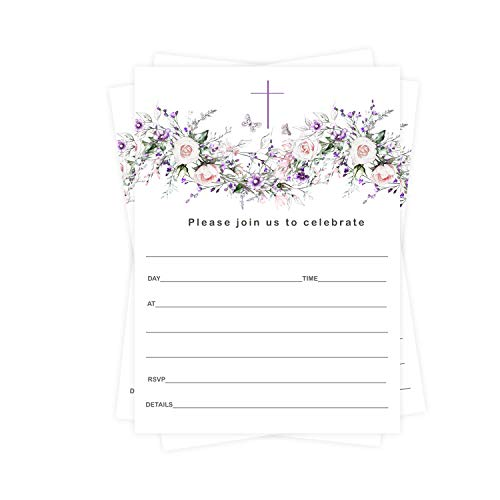 Greenery Baptism Invitations (25 Cards) for Christening – Naming Ceremony – Dedication – Confirmation – Communion – Party Supplies - Fill In Blank Style Invites and Envelope Pack