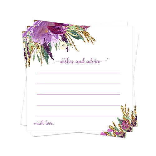 Purple Floral Advice Cards (25 Pack) Bridal Shower Games - Girls Baby Shower Wishes - Country Wedding Ideas – Graduation Party - Wishing Well - Retirement - Engagement - Time Capsule – Rustic Chic