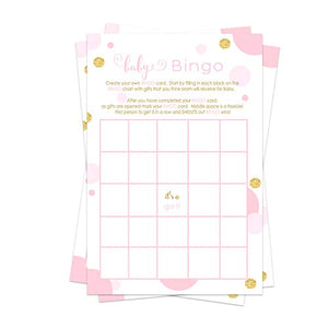 Pink and Gold Baby Shower Bingo Game Pack (25 Cards) Guests Fill-In Blanks with Gifts Guesses - Cute Sprinkle Activities - Twinkle Little Star - Royal Princess