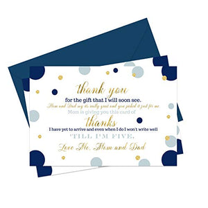 Navy and Gold Baby Shower Thank You Cards and Blue Envelopes (15 Pack) - A6 Flat Notecards Stationery Set - Boys Royal Prince - Twinkle Little Star