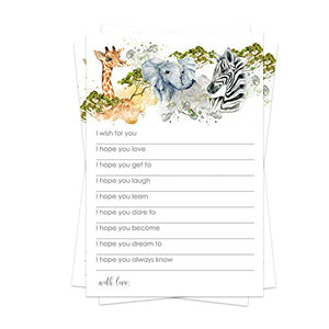 Jungle Wish for Baby Shower Game (25 Pack) Advice and Best Wishes – Wishing Well Cards – Birthday Time Capsule – Wild Safari Sprinkle Activity – Jungle Animal Party Supplies