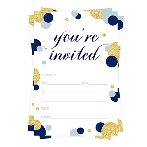 Navy and Gold Party Invitations (15 Guests) Boys Baby Shower – Graduation – You're Invited - Birthday – Retirement – Any Event – Abstract Style - Fill In Blank Invite Cards and Envelope Set DIY