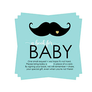 Mustache Bring a Book for Baby Shower (25 Pack) Instead of Card Invitation Insert - Raffle Game Idea –Oh Boy – Little Man Party Supplies – Black Gold Mint - Sprinkles