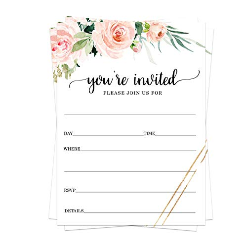 Graceful Party Invitations (25 Guests) Wedding – Bridal - Baby Shower - Graduation - Luncheon - Birthday – Housewarming - Any Style Event - Fill in Blank Invite Cards and Envelope Set DIY