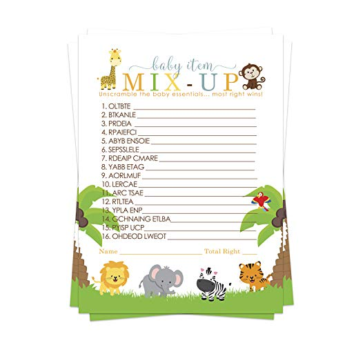 Cute Jungle Baby Shower Word Scramble Game Cards (25 Pack) – Neutral Boy or Girl – Fun Unscramble Activity - Wild Safari Animal Theme